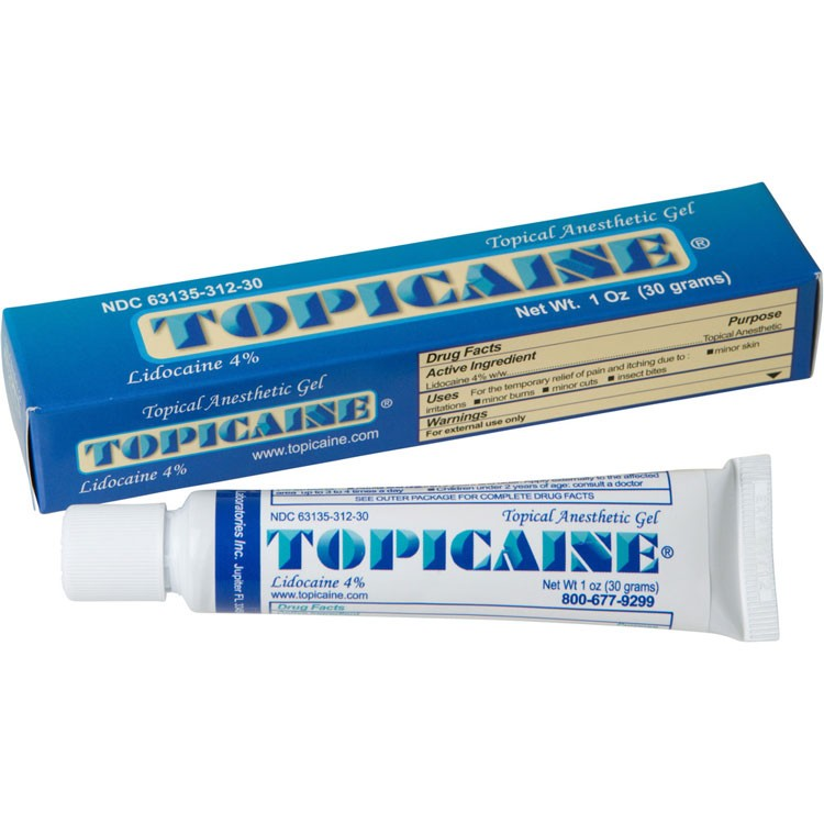 TOPICAINE 1 Oz (30 g) Skin Numbing Topical Anesthetic Gel. Lidocaine 4%