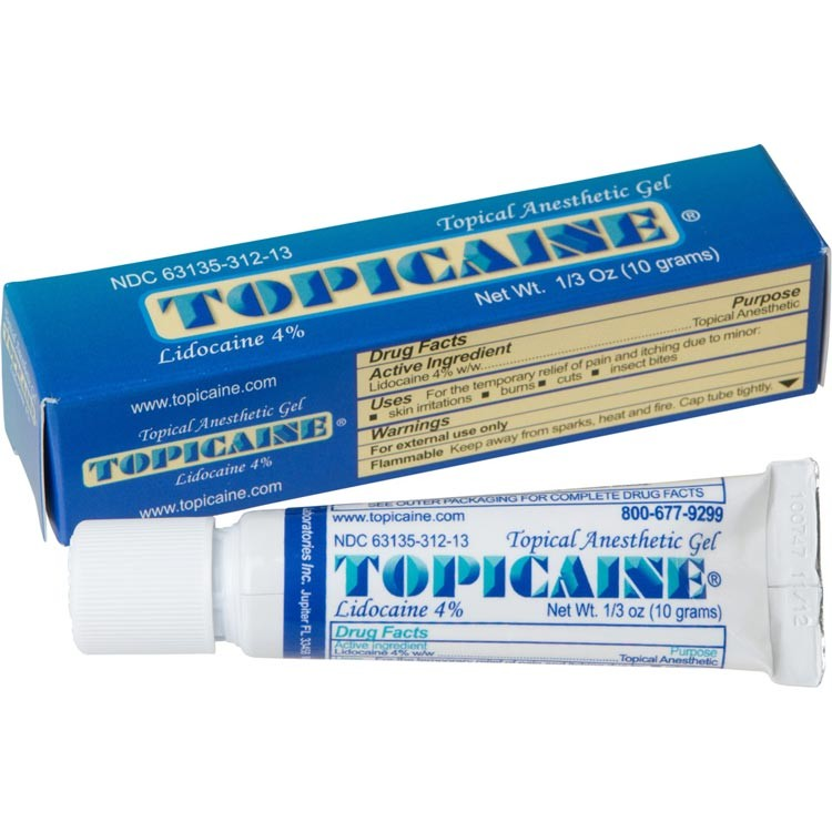 TOPICAINE 1/3 Oz (10 g) Skin Numbing Topical Anesthetic Gel. Lidocaine 4%