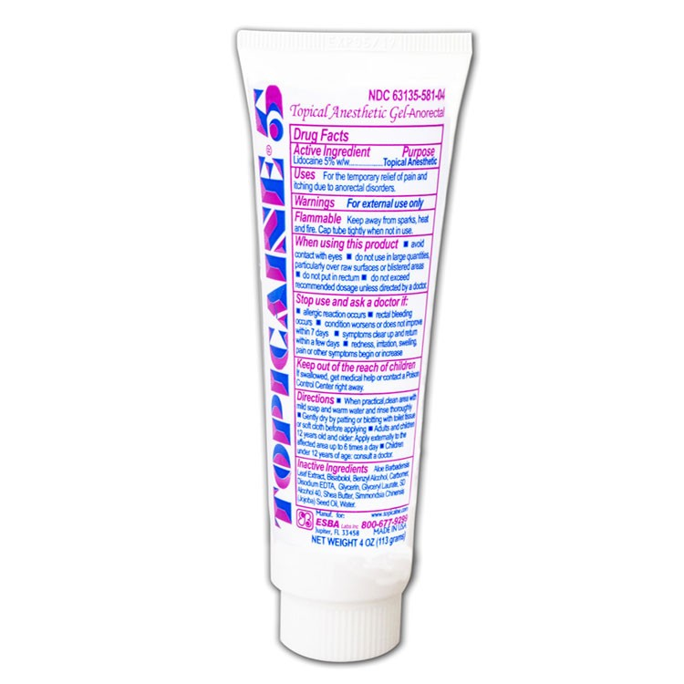 TOPICAINE 5% - 4 Oz (113 g) Skin Numbing Topical Anesthetic Gel. Lidocaine 5%