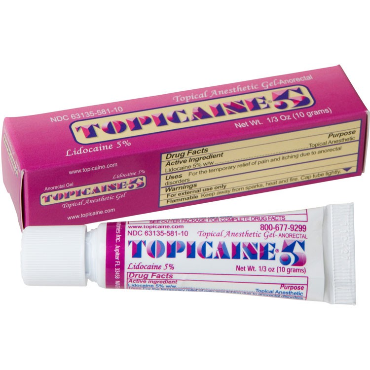 TOPICAINE 5% 1/3 Oz (10 g) Skin Numbing Topical Anesthetic Gel. Lidocaine 5%