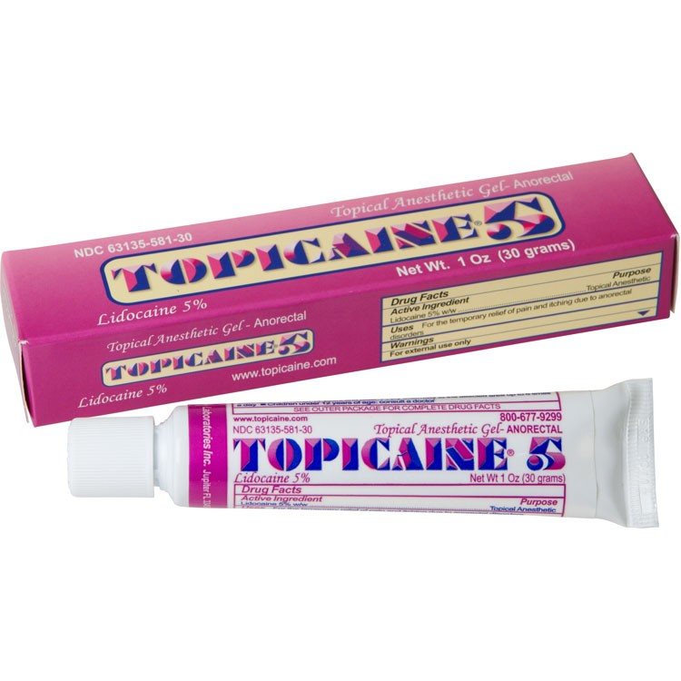 TOPICAINE 5% 1 Oz (30 g) Skin Numbing Topical Anesthetic Gel. Lidocaine 5%