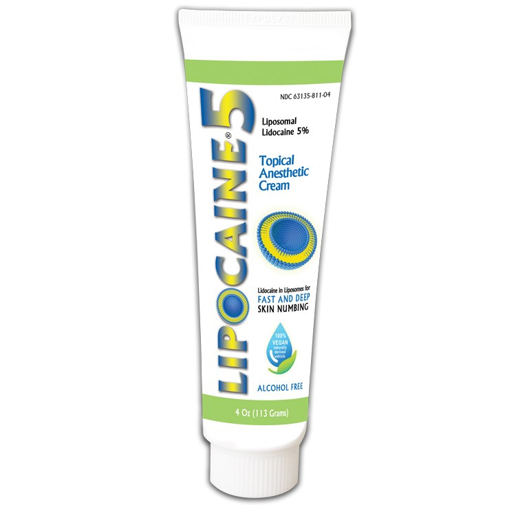 LIPOCAINE 5% - 4 Oz  (113 g)  Topical Anesthetic Cream - Liposomal Lidocaine 5% in a cream 100% naturally derived. Alcohol-free, odor-free!